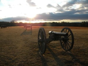 Cannons arrayed on the Civil War battlefield at Manassas. Preservationists say the construction of the Tri-County Parkway on the battlefield's western edge will destroy the park's pastoral quality. (Chris Sullivan - AP)