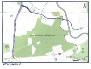 "The proposed route of the ""Battlefield Bypass,"" from Route 29 on the east, connecting with the Tri-County Parkway north of the park. This would enable the state to close Route 29 and Route 234 through the park, though not until 2035. (Virginia Department of Transportation)"