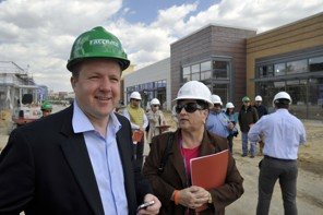 Corey A. Stewart, Chairman of the Prince William County Board of Supervisors (L), touring construction at Stonebridge At Potomac Town Center in Woodbridge. Stewart hopes to break out his hard-hat again for the Tri-County Parkway from Manassas to Loudoun County. (Tracy A. Woodward - THE WASHINGTON POST)